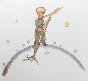 Der kleine Prinz jätet Baobabs auf seinem Planeten, Saint-Exupéry, S. 21